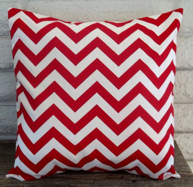 The Emma- 18 x 18 Pillow Cover - Zig Zag in Lipstick Red and White