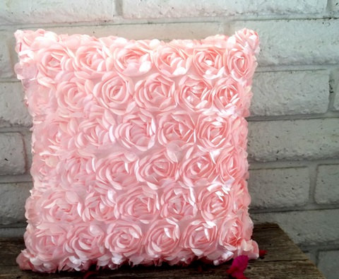 The Elizabeth - 18 x 18 Pillow Cover - Beautiful Pink Satin Ribbon Roses